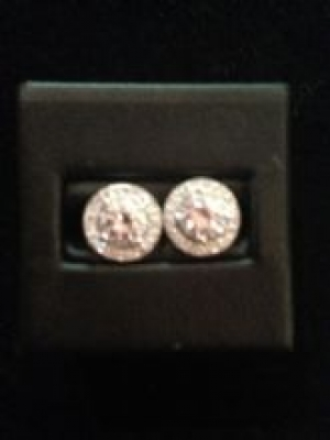 Round Cubic Zirconia Silver Earrings