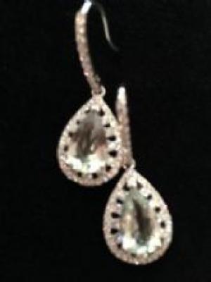 Green Amethyst & Cubic Zirconia Silver Earrings
