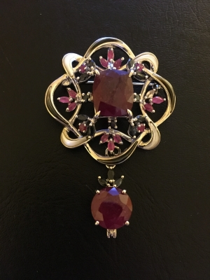 Ruby, Sapphire & Mother-Of-Pearl Brooch & Pendant