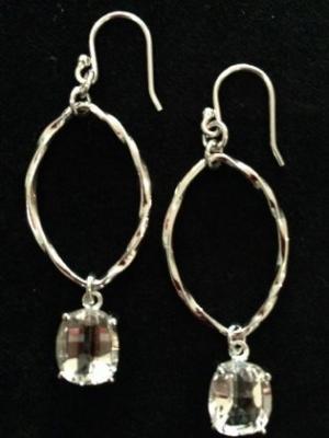 Oval Silver Cubic Zirconia Earrings