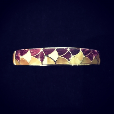 Silver Hinged Bangle Hand Inlaid With Shell