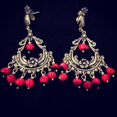 Huayruro Seed Silver Earrings