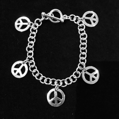 Peace Sign Sterling Silver Charm Bracelet