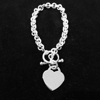 Heart Sterling Silver Fob Bracelet