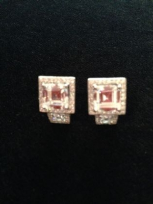 Double Square Sterling Silver Stud Earrings