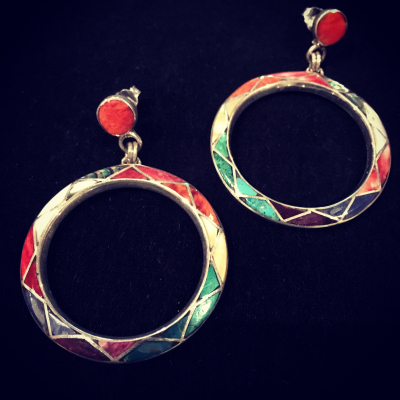 Hand Inlaid Multi Gemstone Silver Earrings