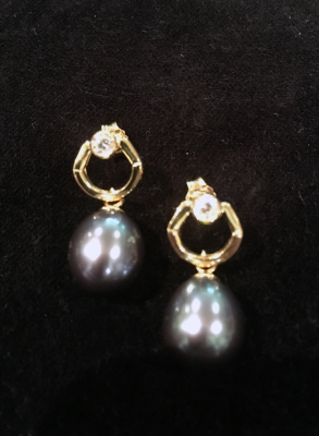 Blue Freshwater Pearl & Cubic Zirconia Yellow Gold Plated Earrings