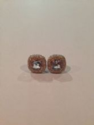 Blue Topaz & Cubic Zirconia Silver Stud Earrings