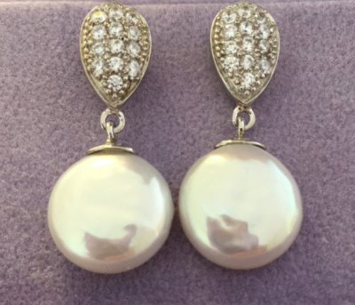 Freshwater Button Pearl & Cubic Zirconia Silver Earrings