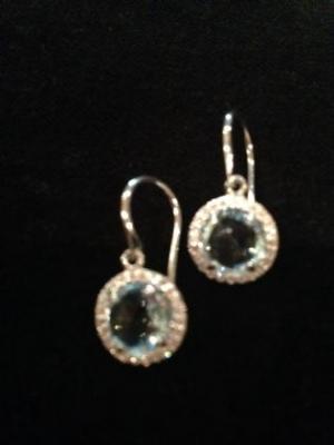Blue Topaz & Cubic Zirconia Silver Earrings