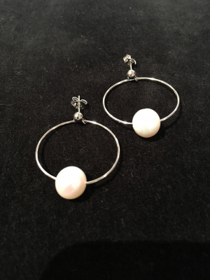 Freshwater Pearl & Silver Hoop Earrings