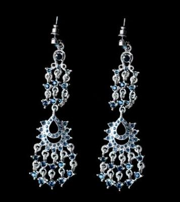 Blue Swarovski Chandelier Earrings