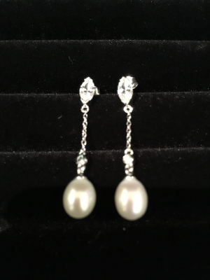 Freshwater Pearl & Cubic Zirconia Dainty Chain Drop Earrings