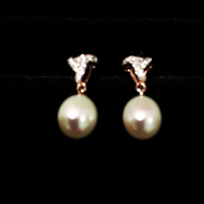 Freshwater Pearl & Cubic Zirconia Rose Gold Plated Earrings