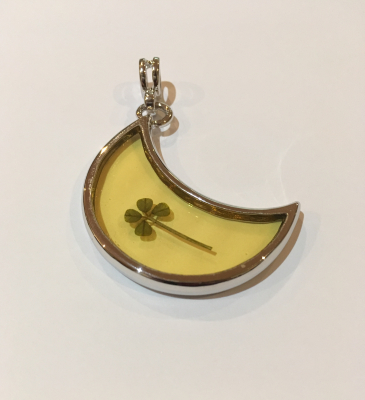 Four Leaf Clover Moon Charm
