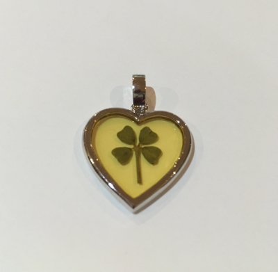 Four Leaf Clover Heart Pendant