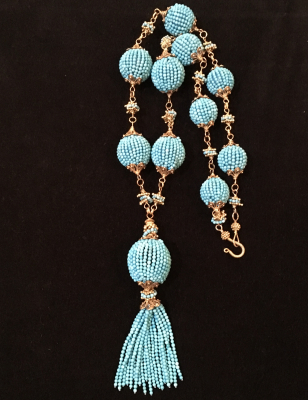 Turquoise Seed Bead Gold Filled Necklace