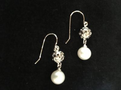 Freshwater Pearl Silver Bauble Earrings