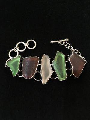 Charles Albert Sterling Silver Beach Glass Bracelet