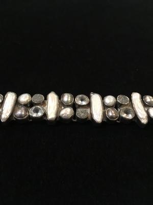 Pearl, Aquamarine & Quartz Druse Bracelet