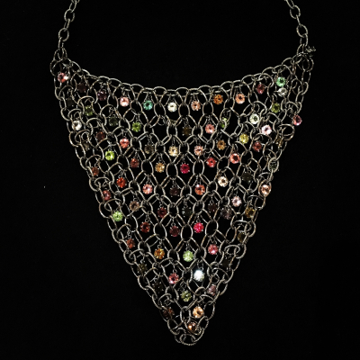 Bib Style Sterling Silver Tourmaline Multi Gem Necklace