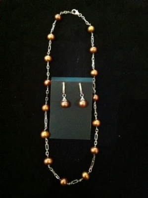 Chocolate Pearl Sterling Silver Set
