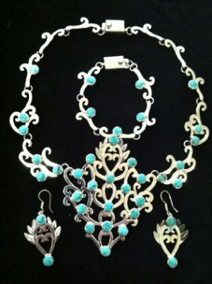 Turquoise & Sterling Silver 3 Piece Set
