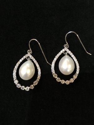 Freshwater Pearl & Cubic Zirconia Pear Shaped Silver Hook Earrings