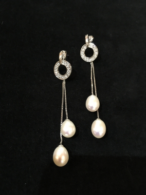 Freshwater Pearl Circle Chain Drop Stud Earrings