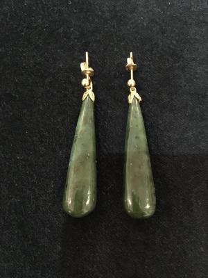 Nephrite Jade Gold Earrings