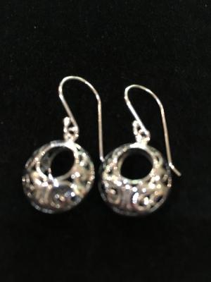Ornate Sterling Silver Hoop Drop Earrings