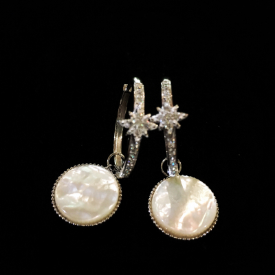 Mother-Of-Pearl & Cubic Zirconia Silver Hoop Earrings