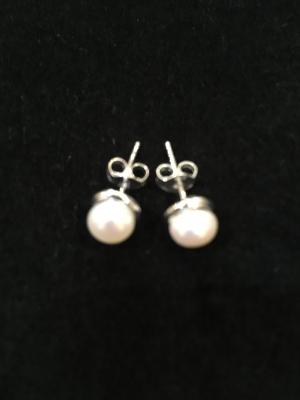 Silver Halo Pearl Earrings
