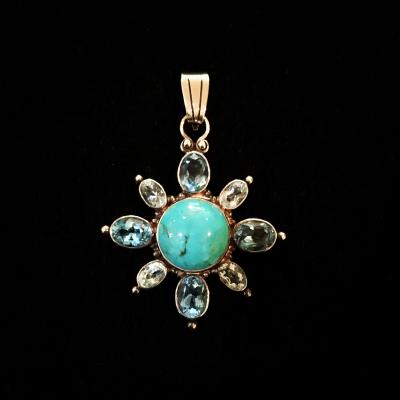 Turquoise & Blue Topaz Starburst Pendant