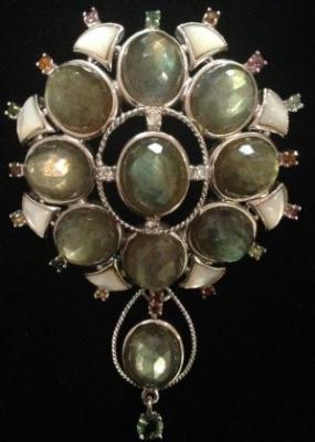 Labradorite Faceted Silver Brooch/Pendant