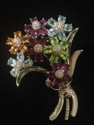 Multi Gem Sterling Silver Bouquet Silver Brooch