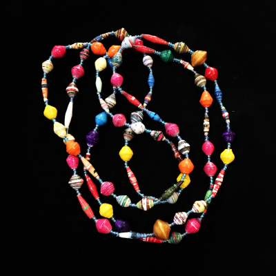 Sustainable Long Hand Made Rwandan Paper Bead Necklace