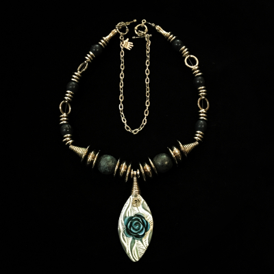 Hand Made Mixed Media Adjustable Necklace