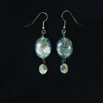 Kyanite Black Rhodium Plated Sterling Silver Drop Earrings