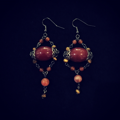 Carnelian & Tiger's-eye Black Rhodium Plated Silver Earrings