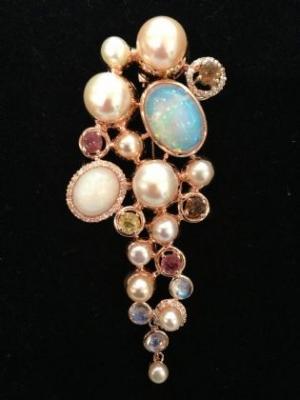 Stunning Opal, Freshwater Pearl & Gem Brooch