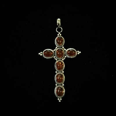 Cross Pendant Set With Amber