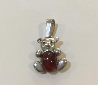 Amber & Sterling Silver Bear Pendant