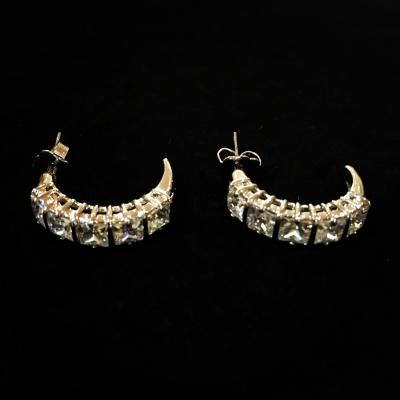Gorgeous Silver Plated & Cubic Zirconia Half Hoop Earrings