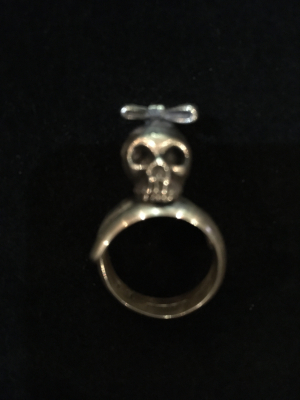 Native American Designer BB Skull Bow Tie Sterling Silver Ring