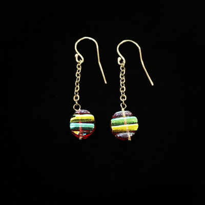 Dichroic Glass Sterling Silver Earrings