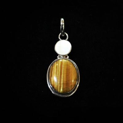 Tiger's-Eye & Mother-Of-Pearl Silver Pendant