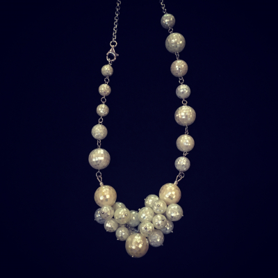 Mother-Of-Pearl Bead & Silver Mosaic Necklace