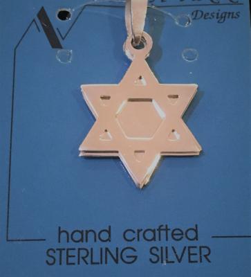 Star Of David & Chai Triple Silver Pendant