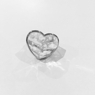 Rock Crystal Sterling Silver Heart Ring